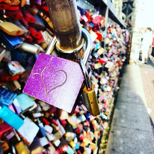 Liefdesslotjes op de Hohenzollern brug in Keulen.