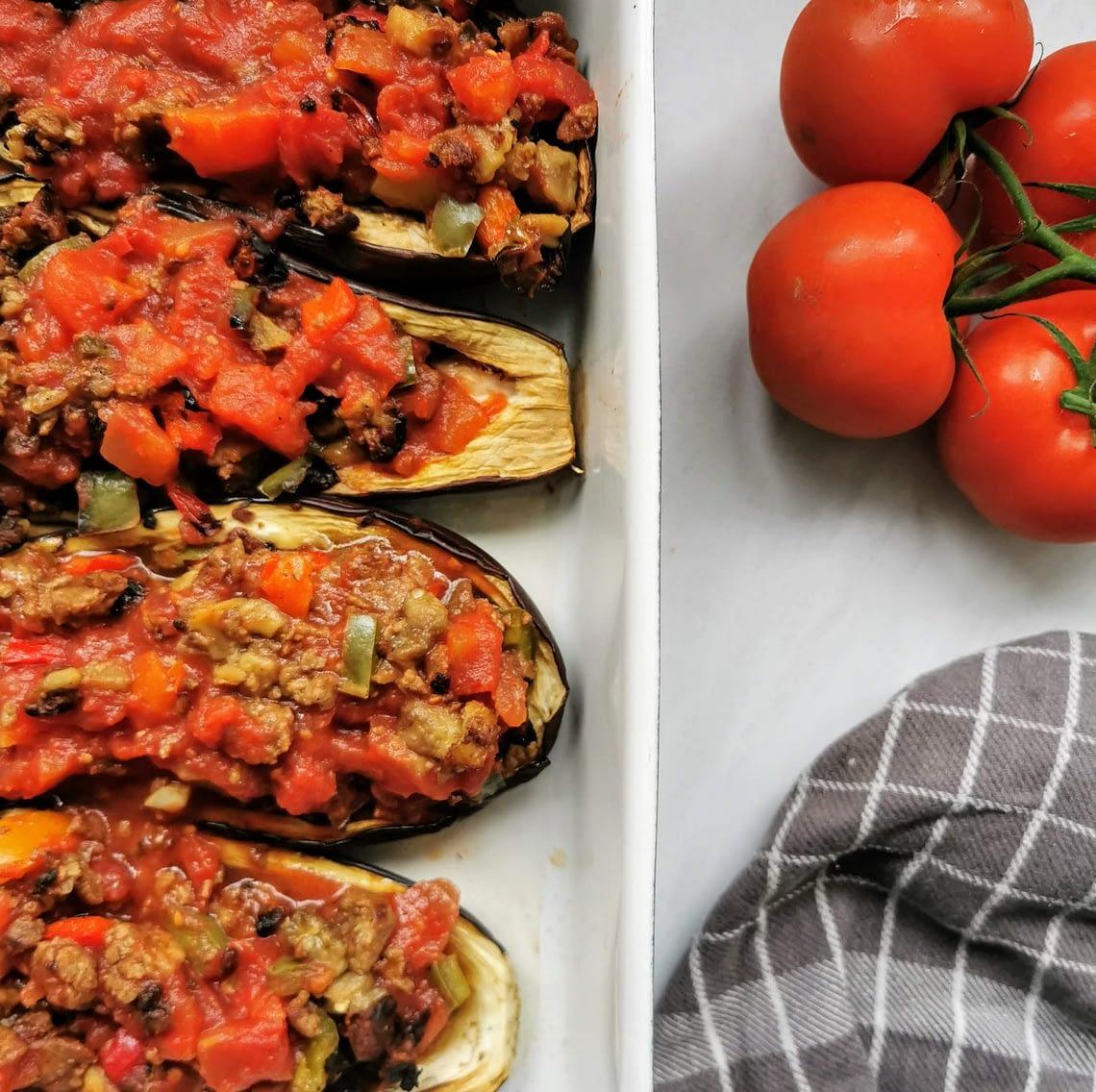 gevulde aubergines - vegan recept
