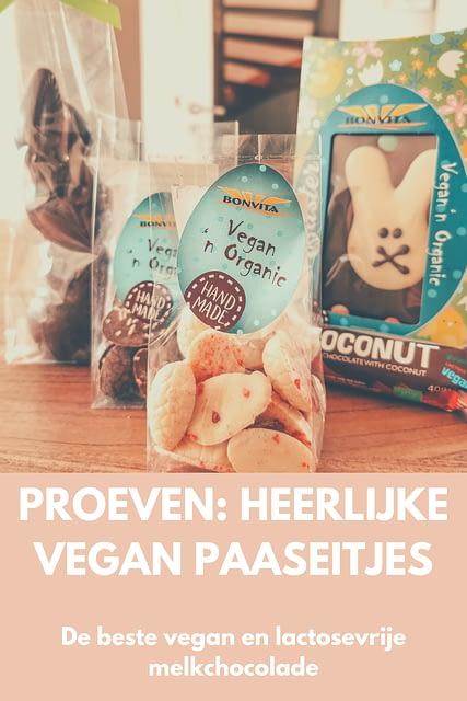 Vegan paaseitjes Niet alle donkere chocolade is vegan, maar veel van de vegan chocolade is wel donker. Snappie? Maar eigenlijk hou ik niet zo van pure chocolade, tenzij om te verwerken in een gerecht met veel plantaardige melk. Gelukkig bestaat er wel vegan (en dus ook lactosevrije) melkchocolade om bijvoorbeeld Pasen mee te vieren, alleen is het een beetje zoeken.