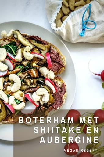 Een gezonde vegan lunch met net dat tikkeltje meer, dat is deze boterham met shiitake en aubergine. Heel fijn om te serveren aan gasten of om jezelf gewoon eens te trakteren op een fancy lunch. Alle ingrediënten komen van bij The Barn Bio Market, deze boterham is dus ook nog eens super vers, biologisch én lokaal. Enjoy!