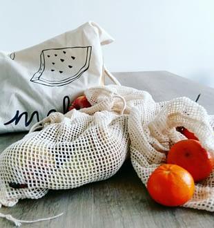 Katoenen zakjes voor groenten, fruit en brood